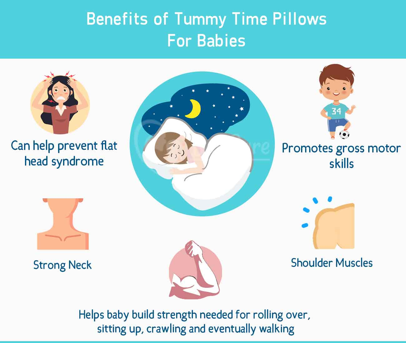 best infographic of 5 benefits of tummy time pillows