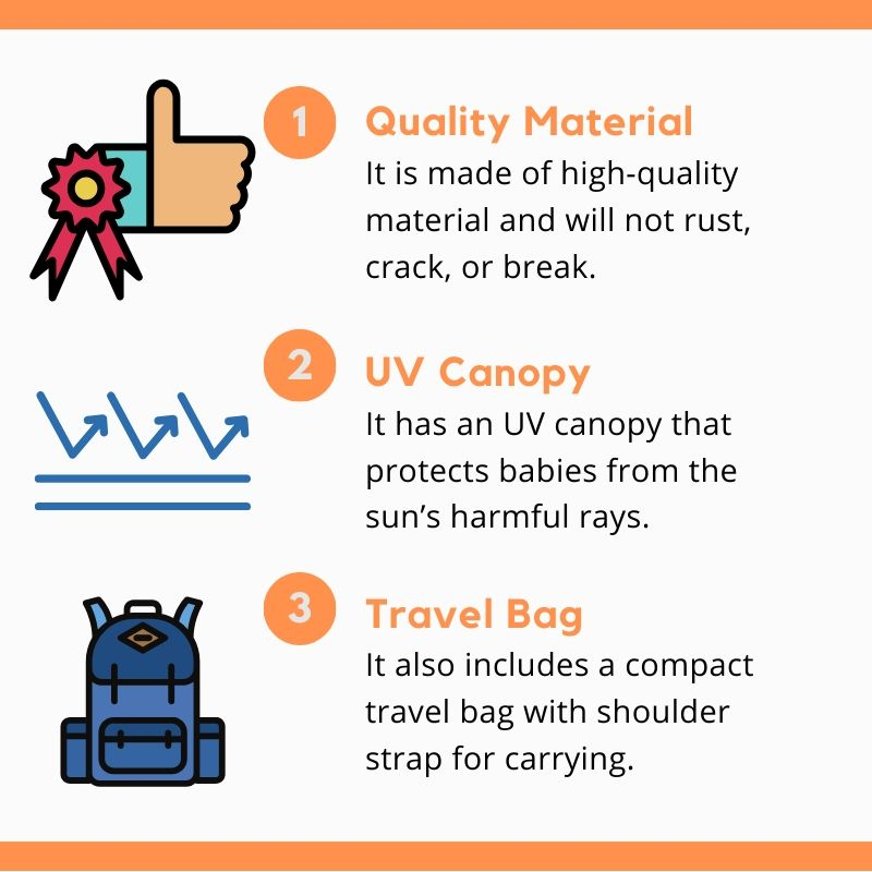 Best infographic of summer infant activity center features has UV canopy, quality material and travel bag