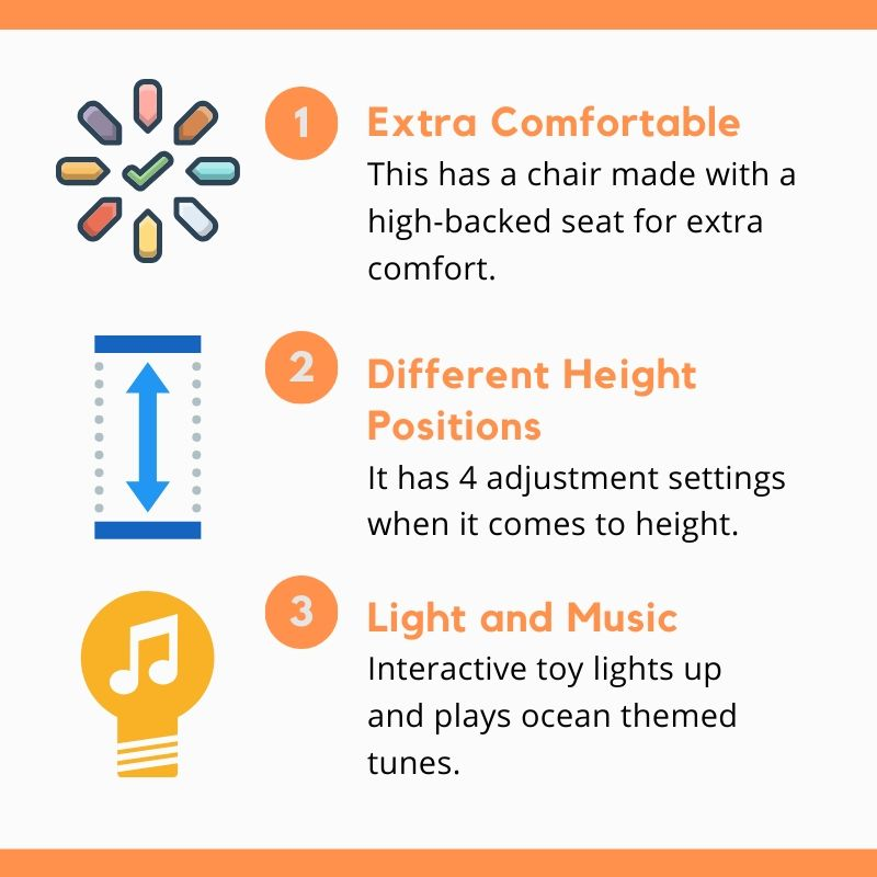 The Disney Baby Finding Nemo provides comfort, height positions and light & music