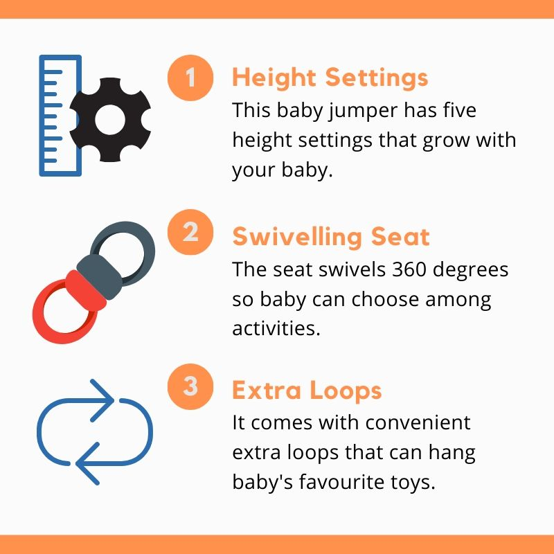 Baby activity jumper features has easy settings, swivelling seat and extra loops