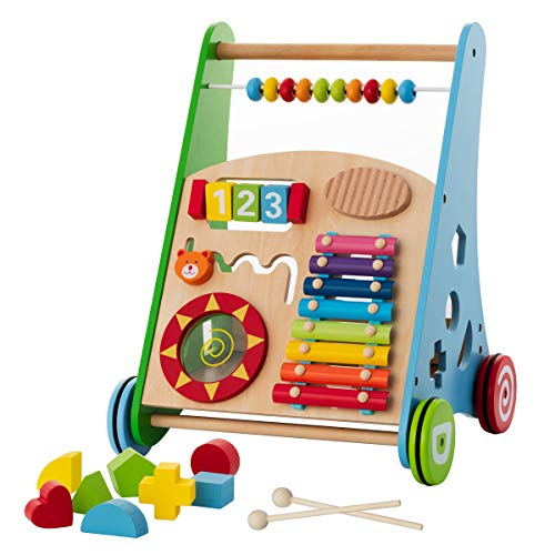 wooden push and pull learning walker